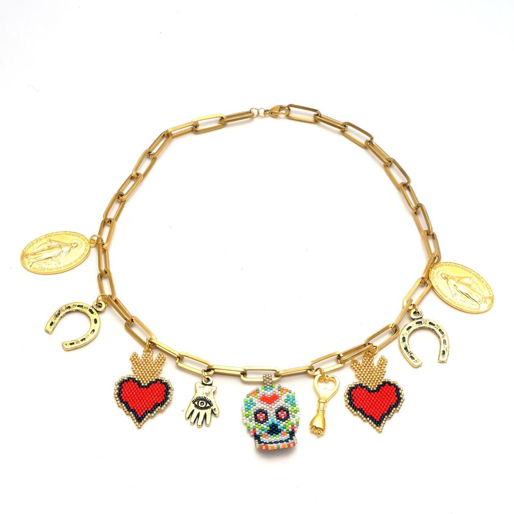 Mexican  Necklace  with  Catrina & Hearts - hand & psyque by Ifigenia Loukou