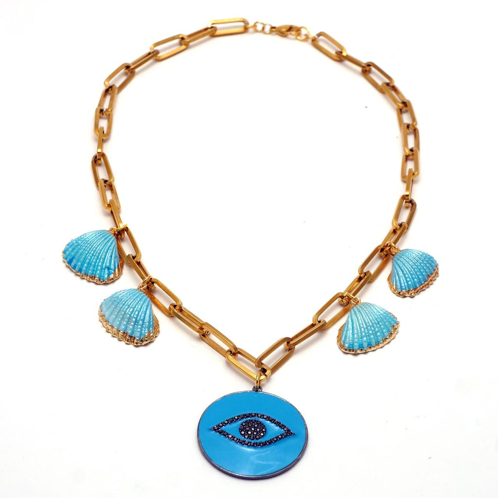 Turquoise Shells and Eye Necklace - hand & psyque by Ifigenia Loukou