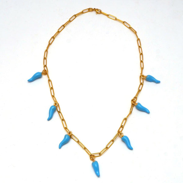 Turquoise Enameled Peppers Necklace - hand & psyque by Ifigenia Loukou