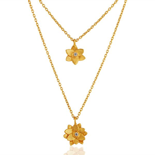 Double Flower Brass gold plated chain