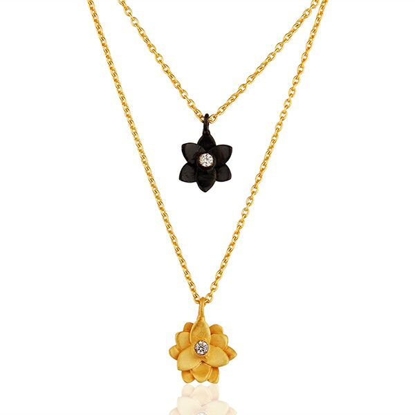 Two tone double flower Brass gold plated chain