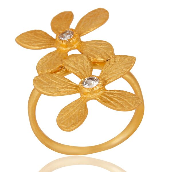 Double flower design with zircon ring