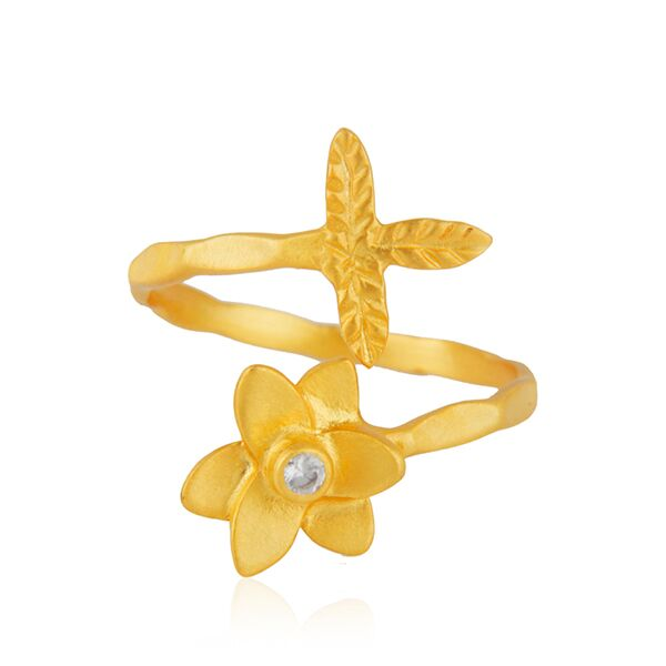 Leaves and flower design ring