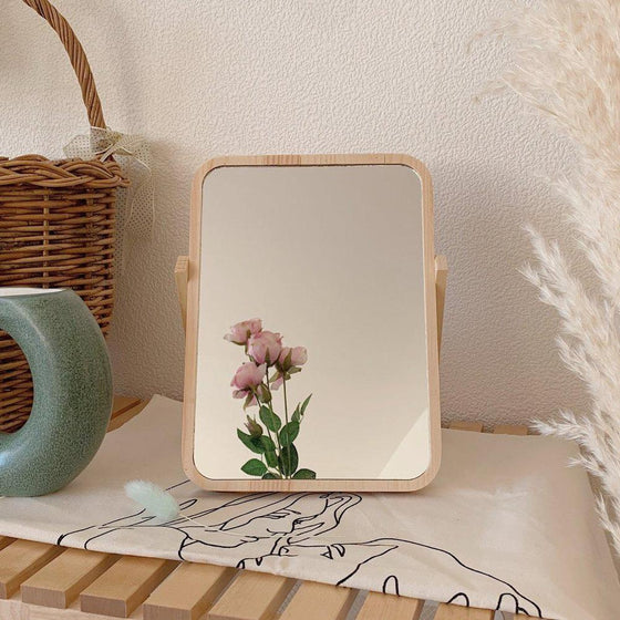 卓上ミラー|natural wood mirror