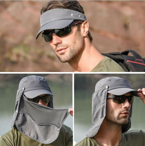 Cap Camping Hiking Fishing Ear Flap Neck Cover Visor Camo Army Hat
