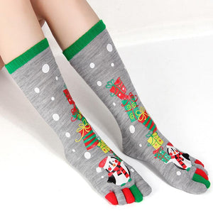 Christmas Five Finger Toe Long Socks - black/red - One Size