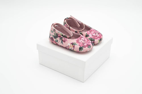 Dolce & Gabbana – Girls Pink Ballerinas with Bow Detail and Roses