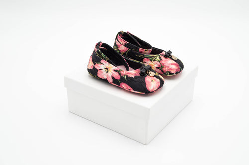 Dolce & Gabbana – Girls Black Ballerinas with Bow Detail and Flowers