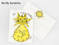 Be My Sunshine Cat Note Card + Envelope