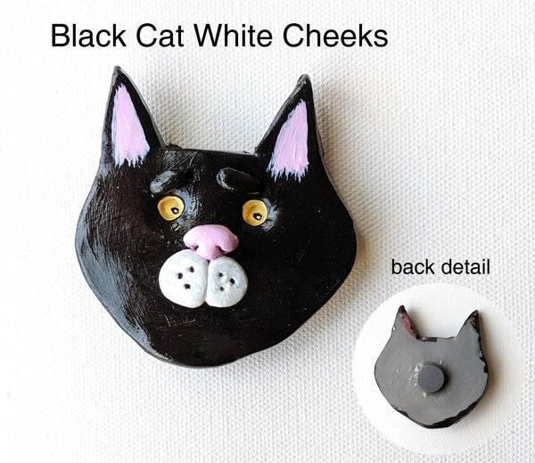 Black Cat White Cheeks Magnet