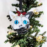 Black and White Blue Eyes - Cat Ornament