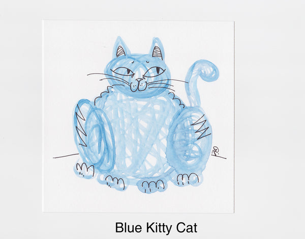 Blue Kitty Cat Frameable Art