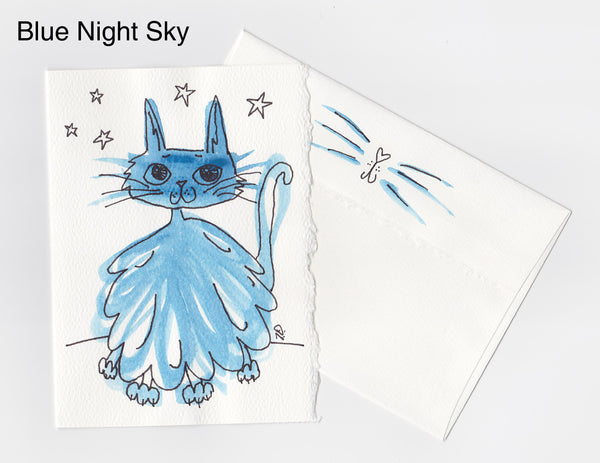 Blue Night Sky Cat Note Card + Envelope
