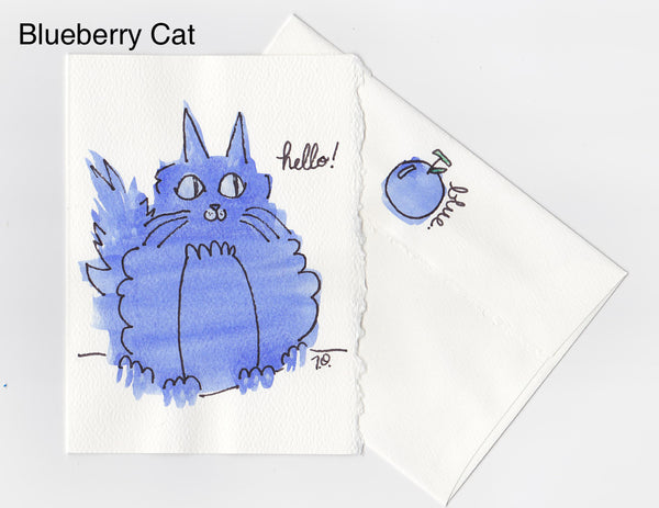 Blueberry Cat Note Card + Envelope