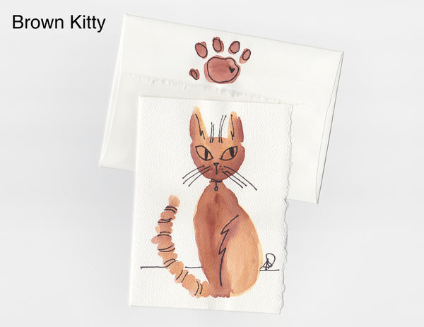 Brown Kitty Note Card + Envelope