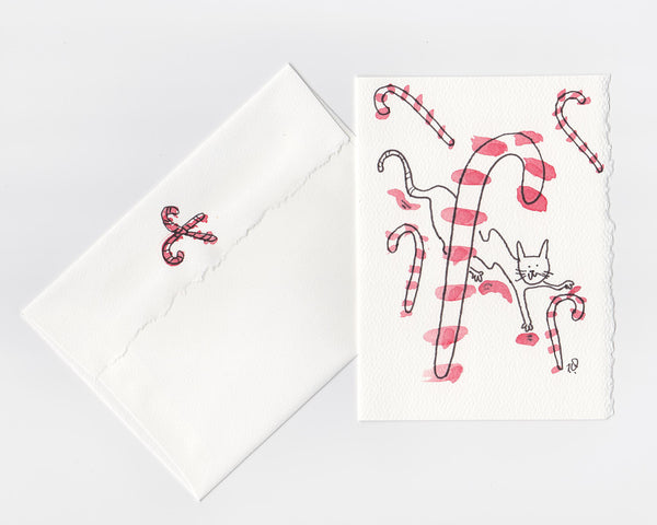Candy Cane Cat Note Card + Envelope