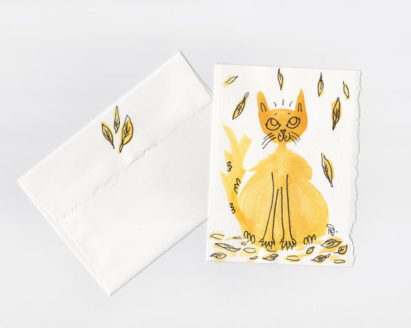 Fall Kitty Note Card + Envelope