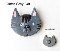 Glitter Grey Cat Magnet