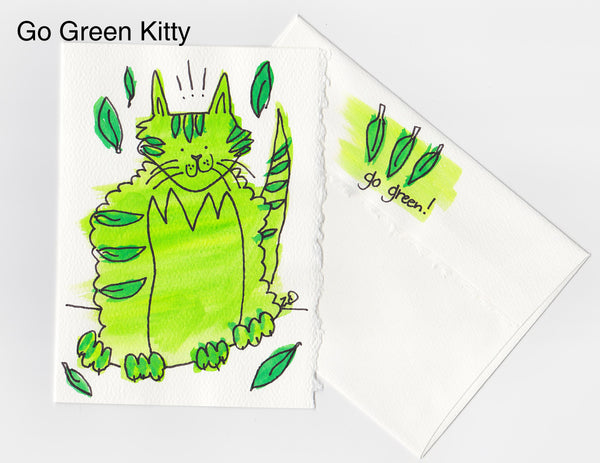 Go Green Kitty Note Card + Envelope