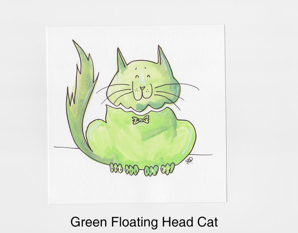 Green Floating Head Cat Frameable Art