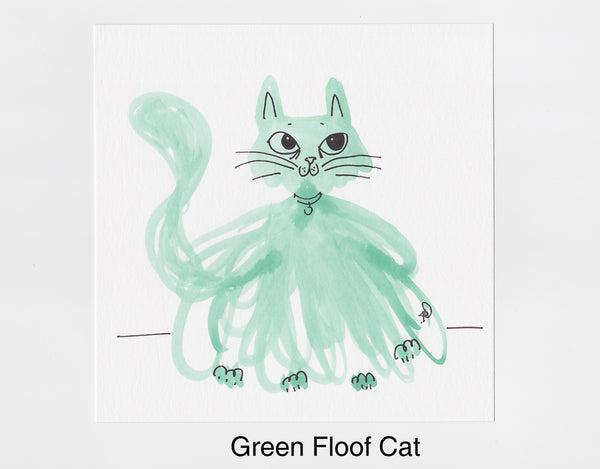 Green Floof Cat Frameable Art