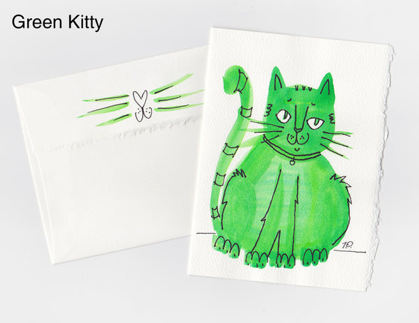 Green Kitty Note Card + Envelope