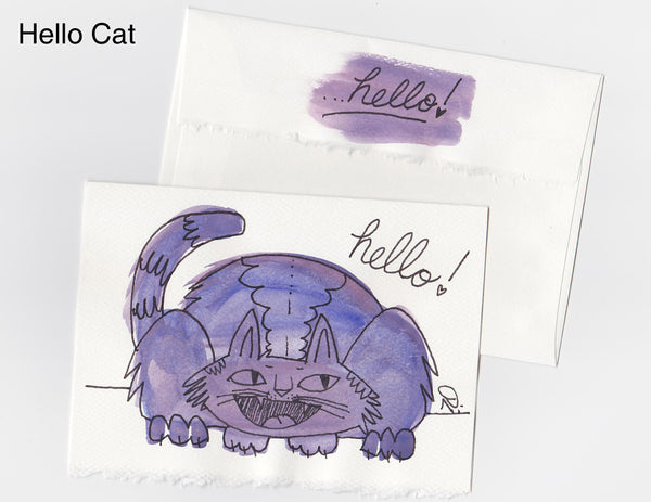 Hello Cat Note Card + Envelope