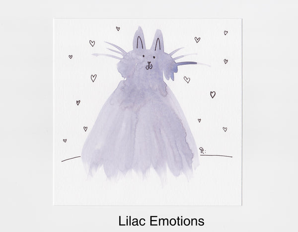 Lilac Emotions Cat Frameable Art