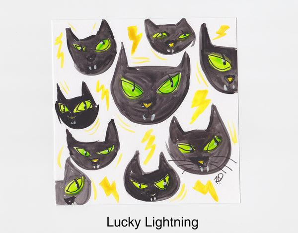 Lucky Lightning Cat Frameable Art