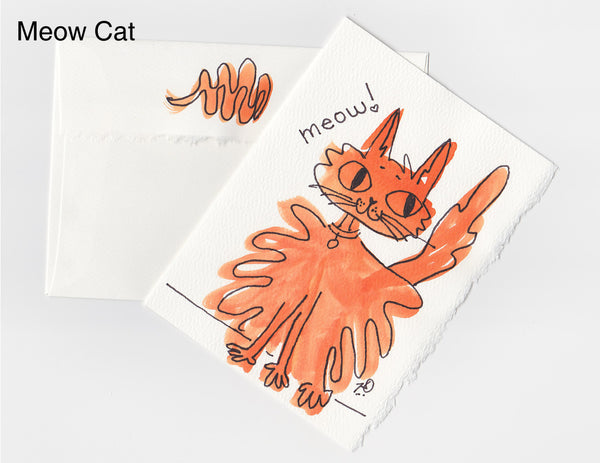 Meow Cat Note Card + Envelope