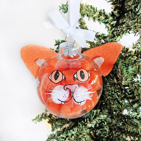 Orange Kitty Orange Eyes - Cat Ornament