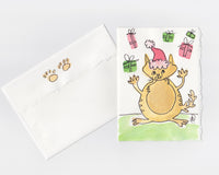 Santa Cat Note Card + Envelope