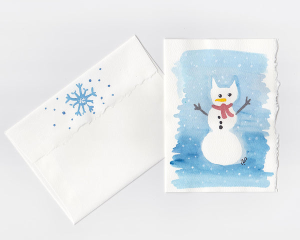 Snow Kitty Note Card + Envelope