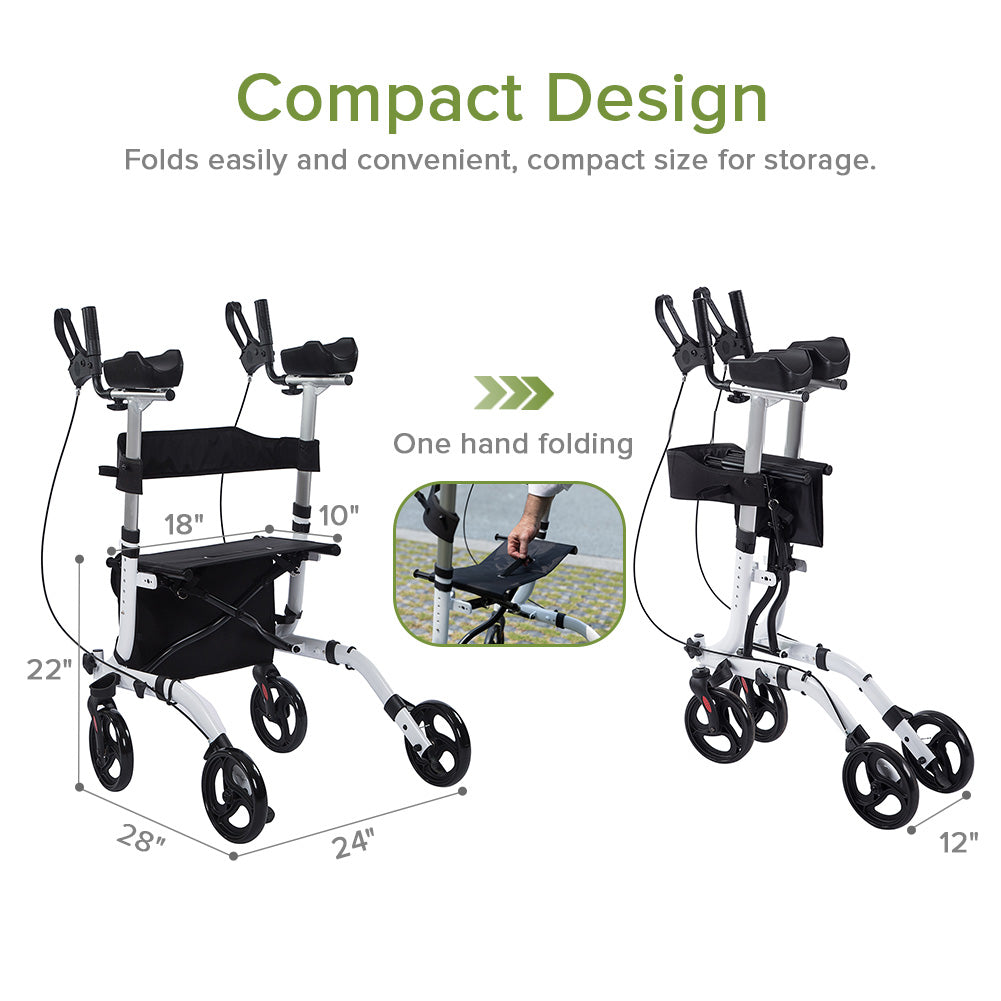 HFK-9210KDB Upright Walker, Stand Up Folding Rollator Walker Back Erect Rolling Mobility Walking Aid with Seat,Padded Armrests for Seniors and Adults