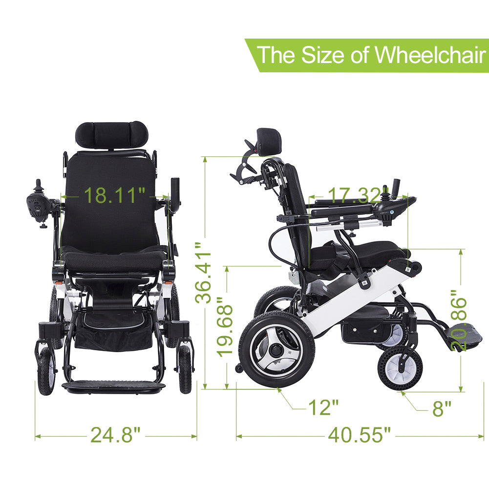 DY01105 2020 Electric Wheelchair, Foldable Powered Wheel Chair, 15 Miles Battery Life with Headrest for Home Outdoor