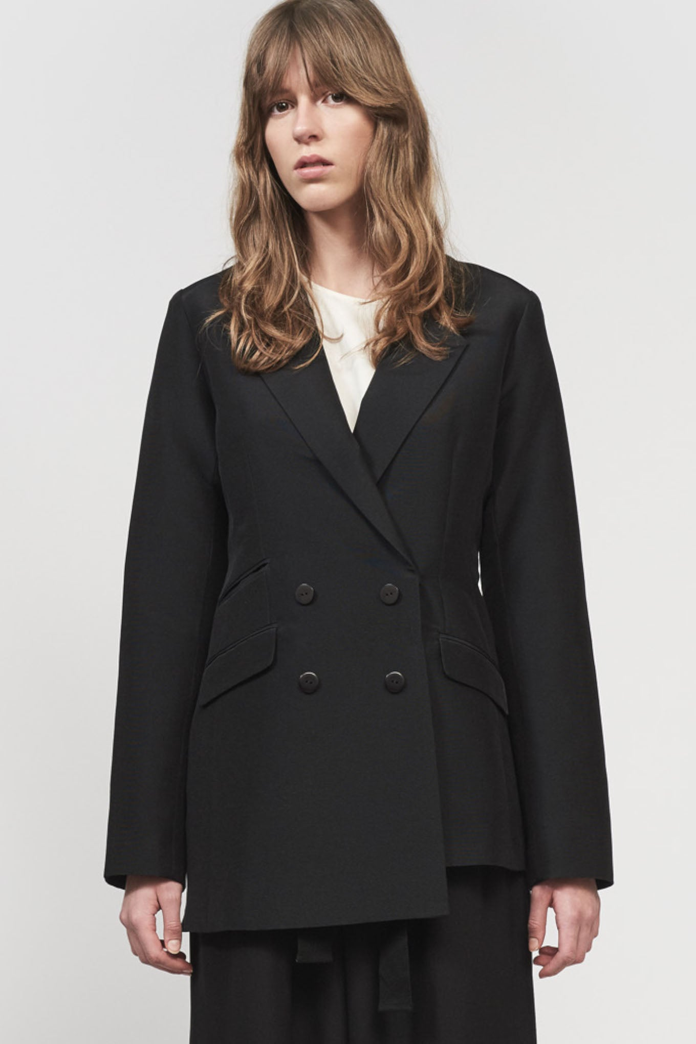 BRIGHTON BLAZER - BLACK - SILK/COTTON