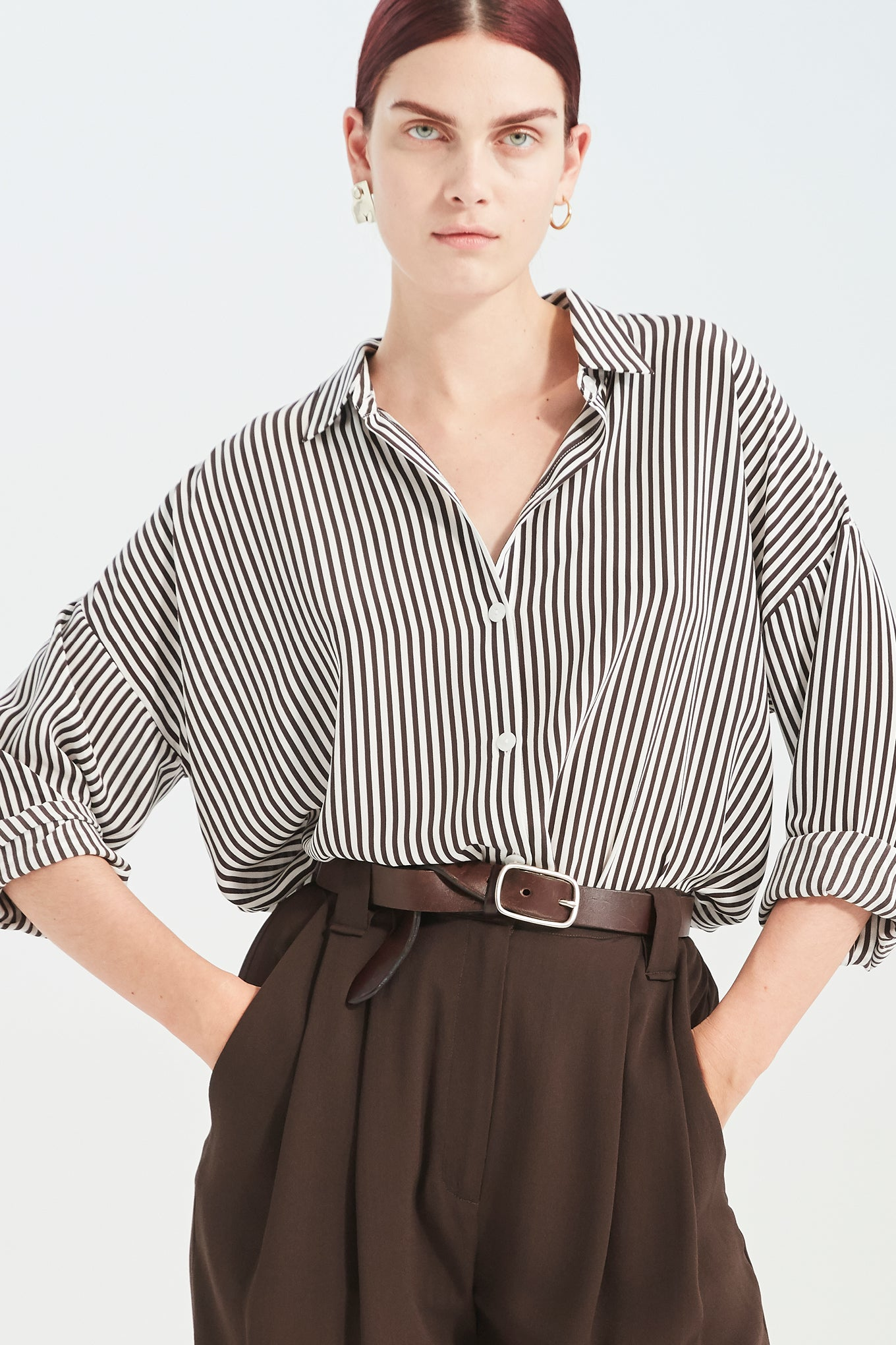 Bianca LS Shirt - Brown Stripe