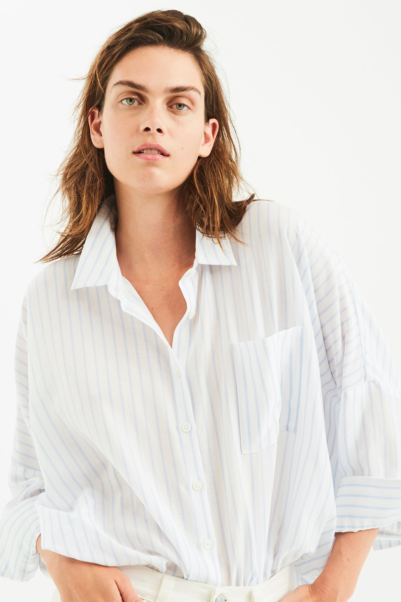 Bianca Pocket Shirt - Light Blue Stripe - Silk/Cotton