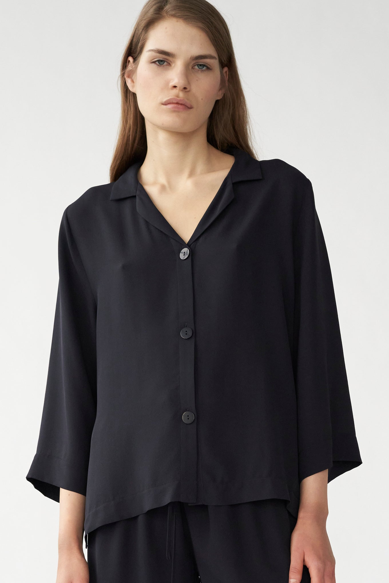 BARNEY SHIRT - NAVY - SILK GEORGETTE