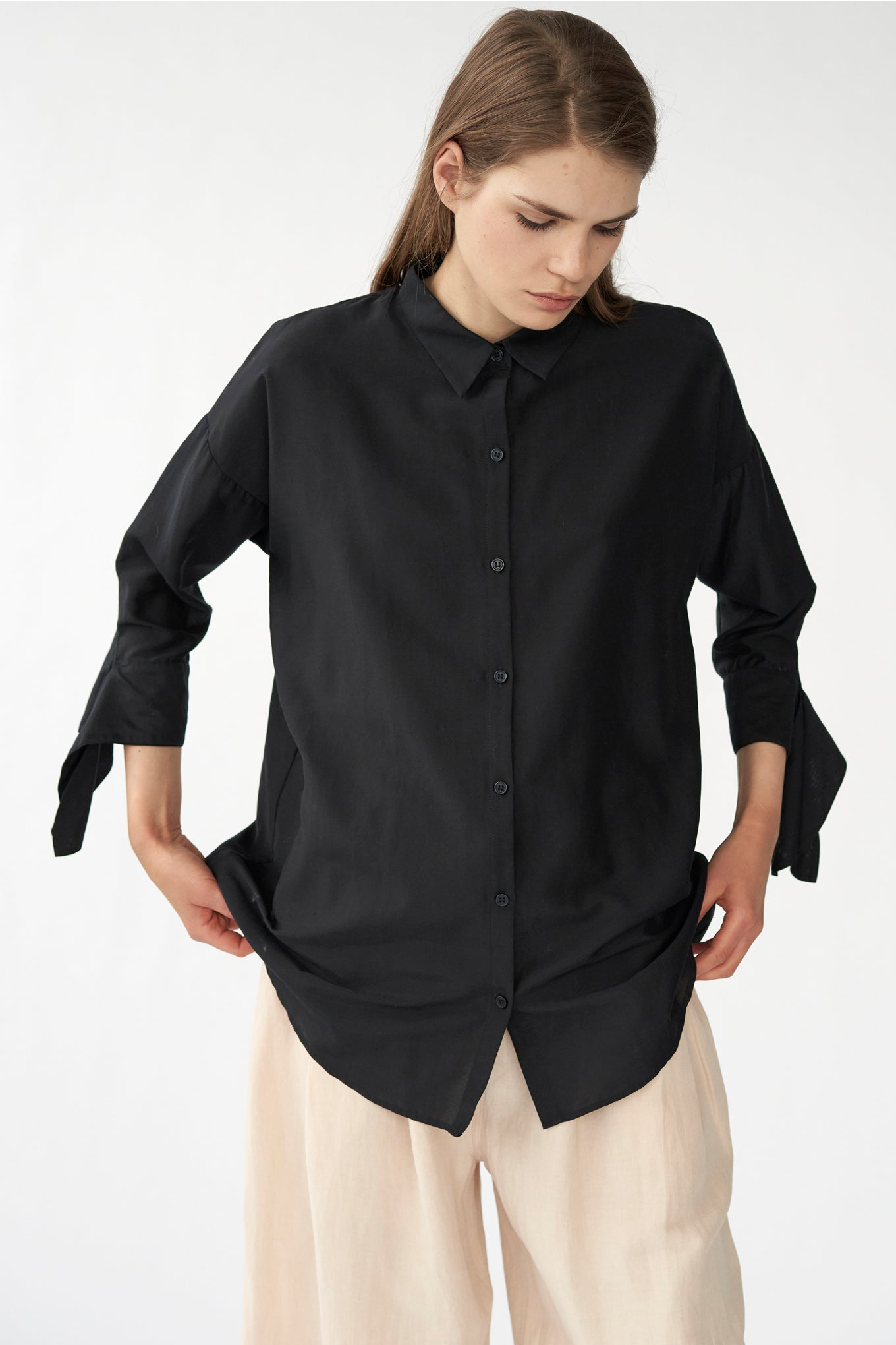 Bianca Bow Shirt - Black  - Silk/Cotton