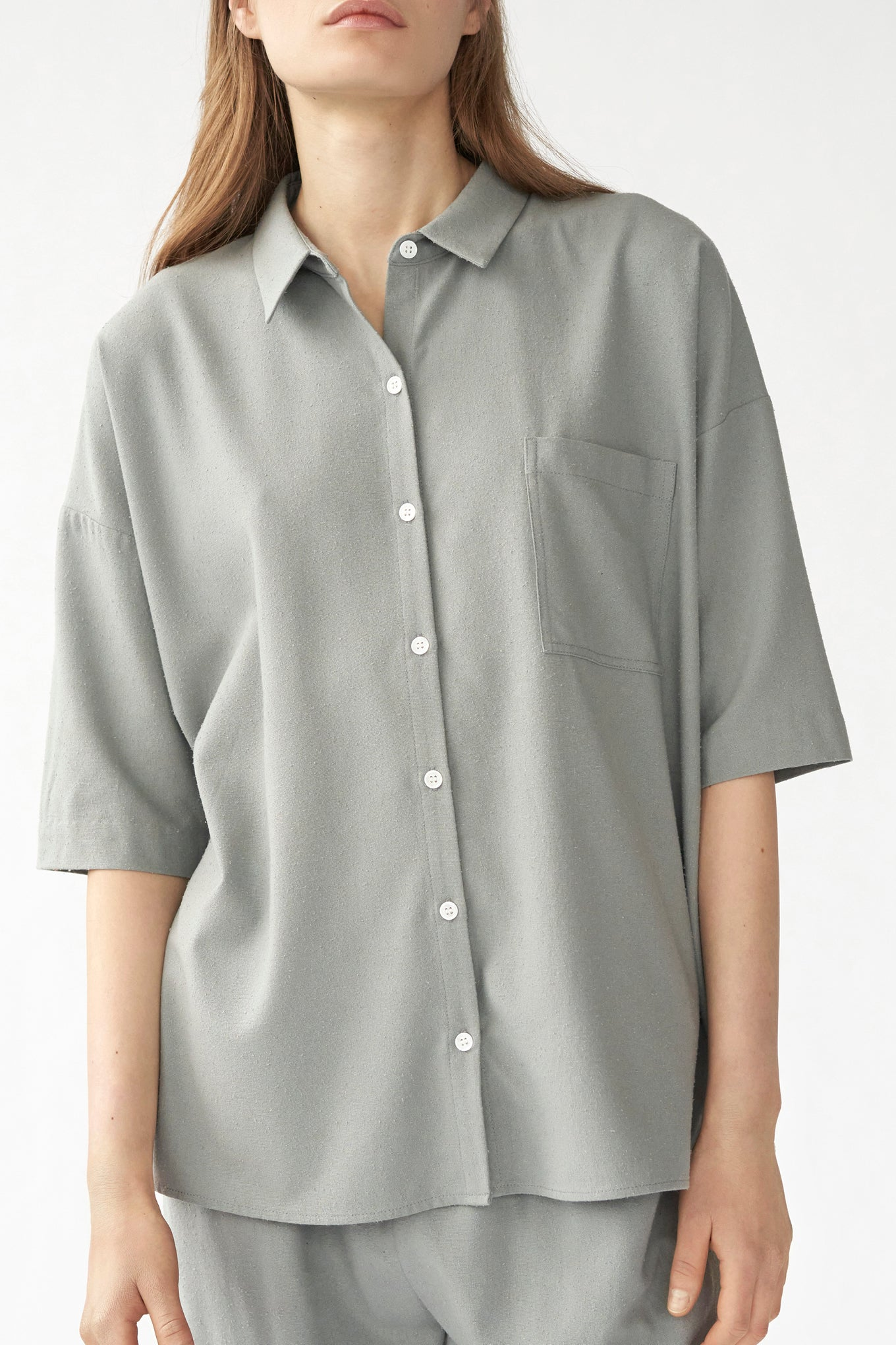 BIANCA SS STRAIGHT SHIRT - AQUA GREY - RAW SILK