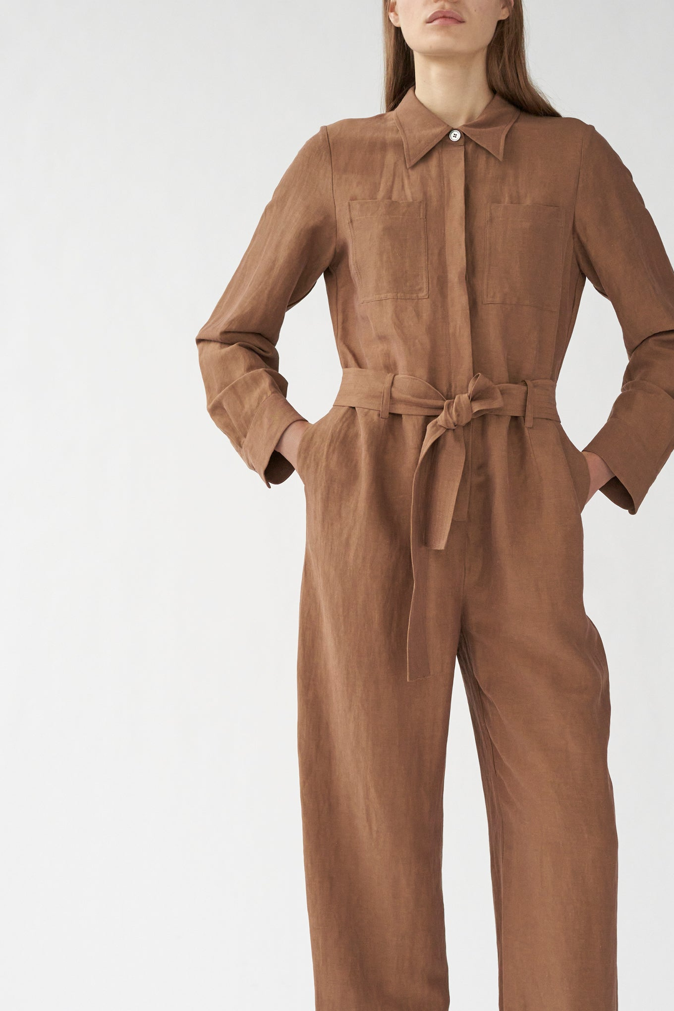 Diego Jumpsuit - Milk Chocolate - Silk/Linen