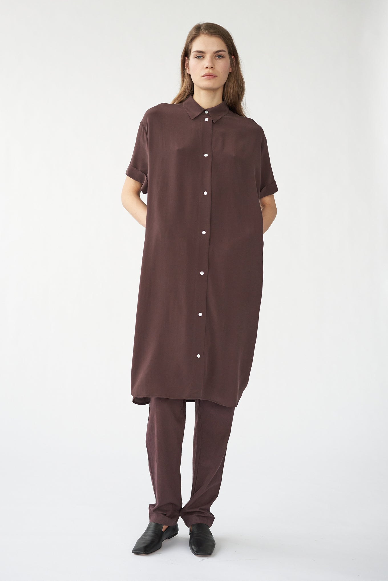 ELIZA SHIRT DRESS - BITTER CHOCOLATE - SAND WASHED CREPE DE CHINE SILK