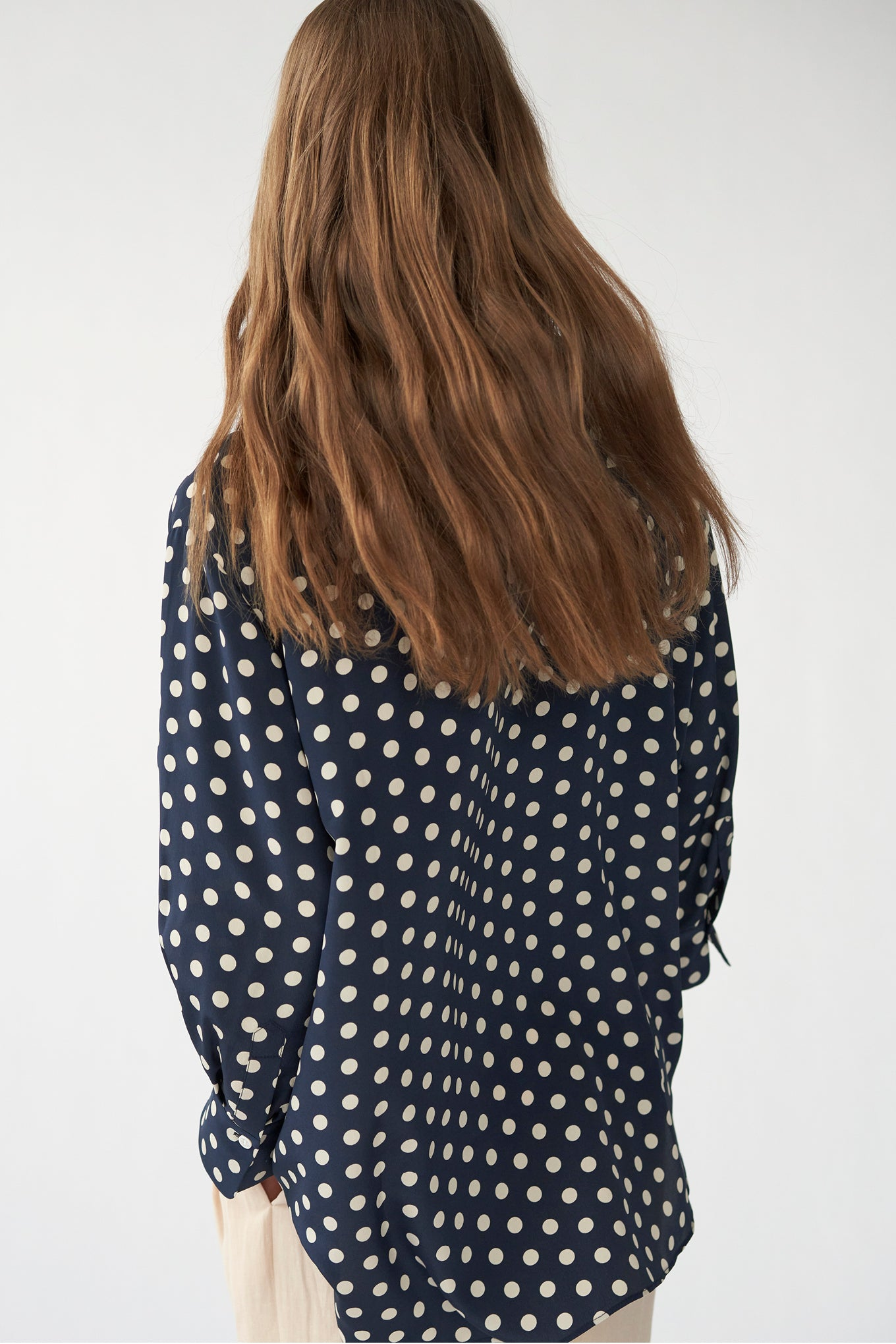 ELIZA SHIRT - NAVY/WHITE DOT - CREPE DE CHINE SILK