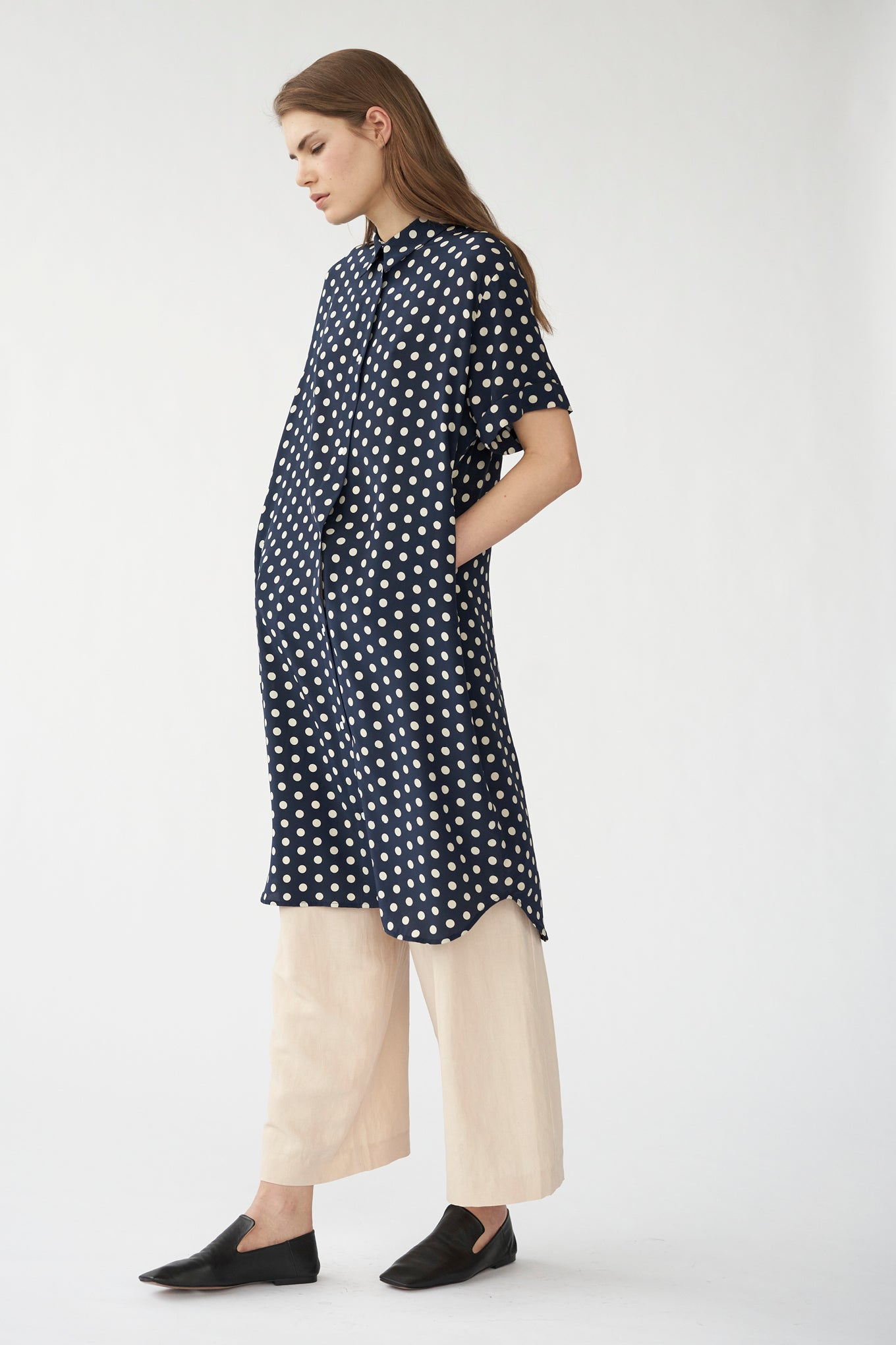 ELIZA SHIRT DRESS - NAVY/WHITE DOT - CREPE DE CHINE SILK