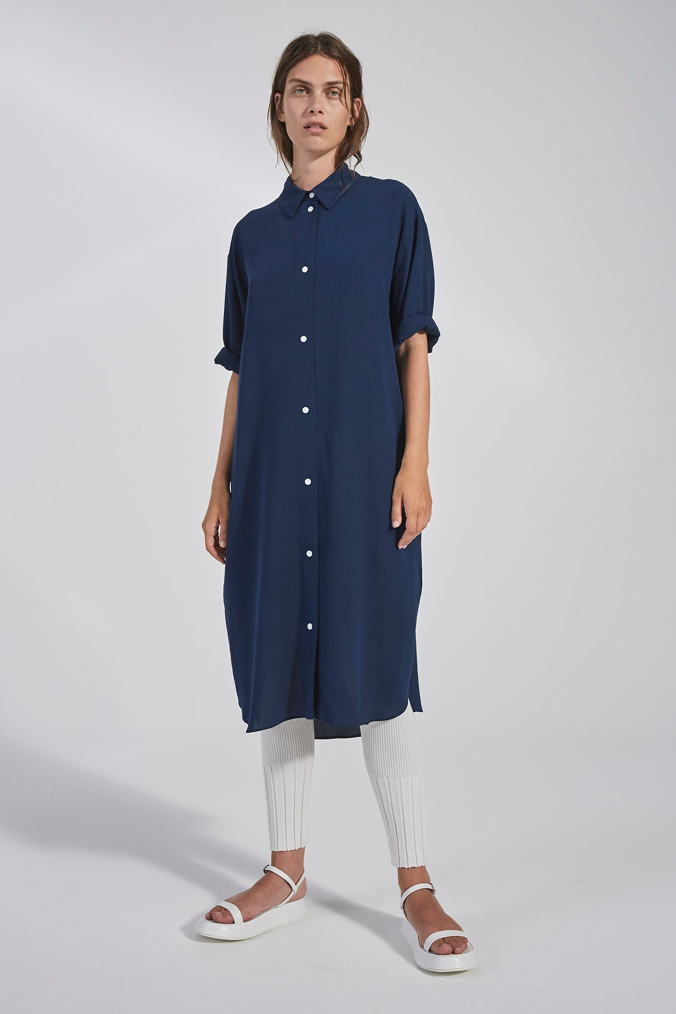 Eliza Shirt Dress - Navy