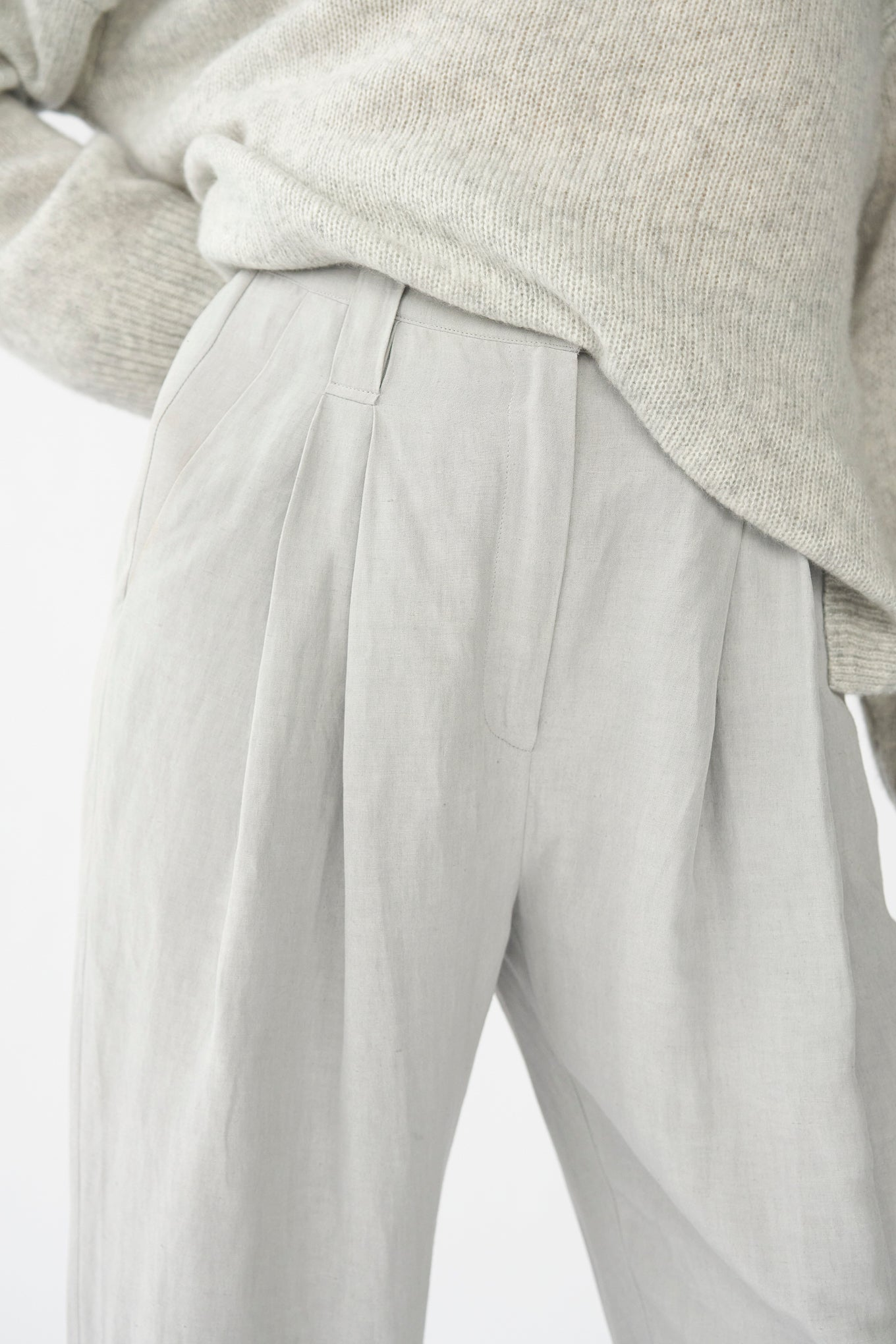 HARRY PANTS - GREY - SILK/LINEN