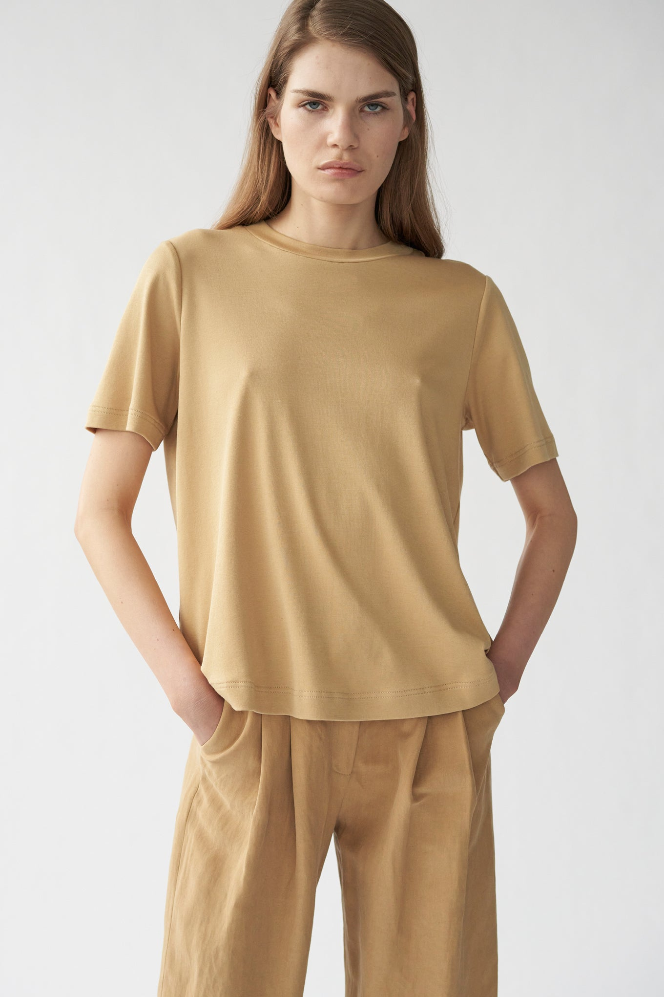 HAZE TEE - SUNKISSED BEIGE - SILK/COTTON JERSEY