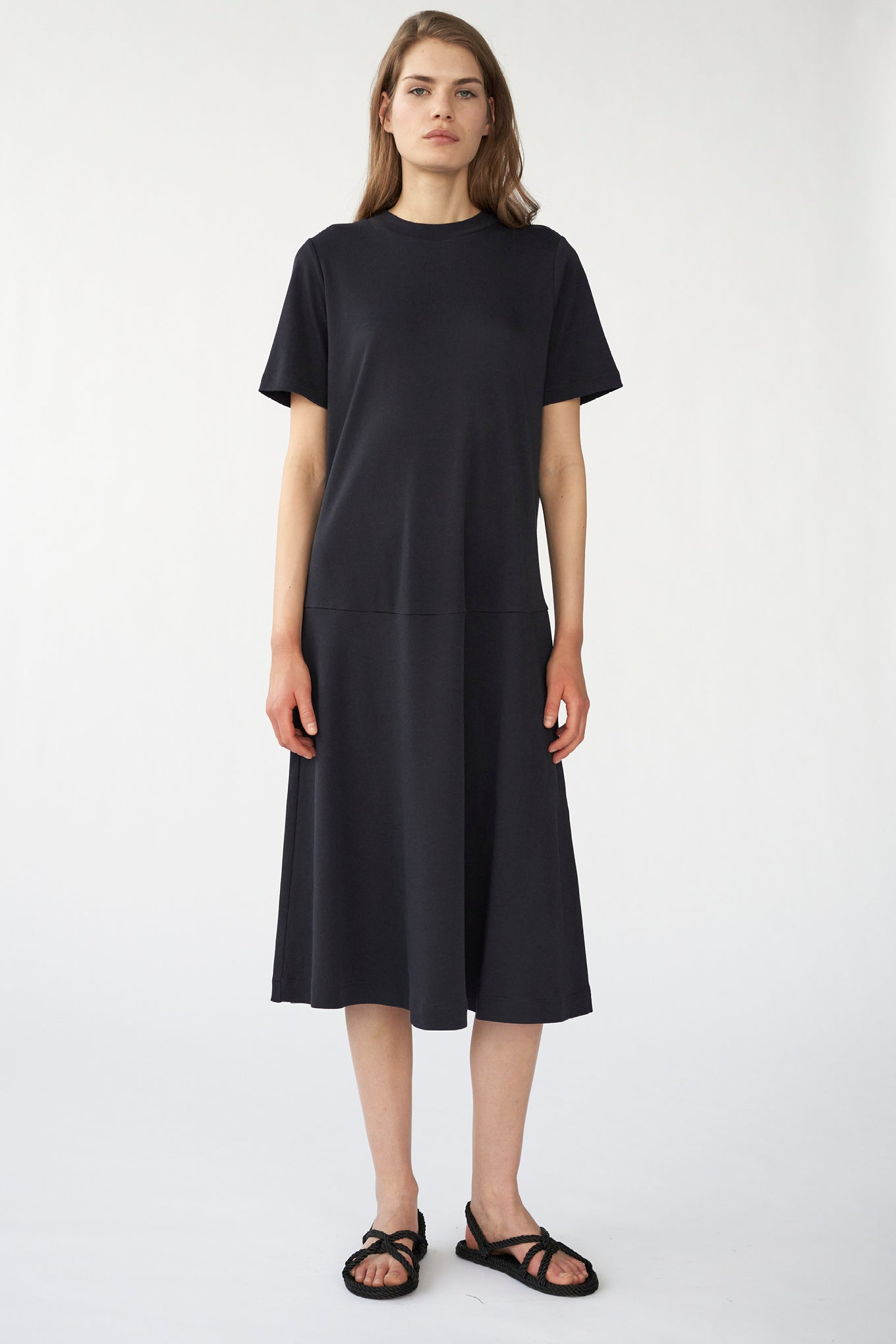 HOLDEN JERSEY DRESS - NAVY - SILK/COTTON JERSEY