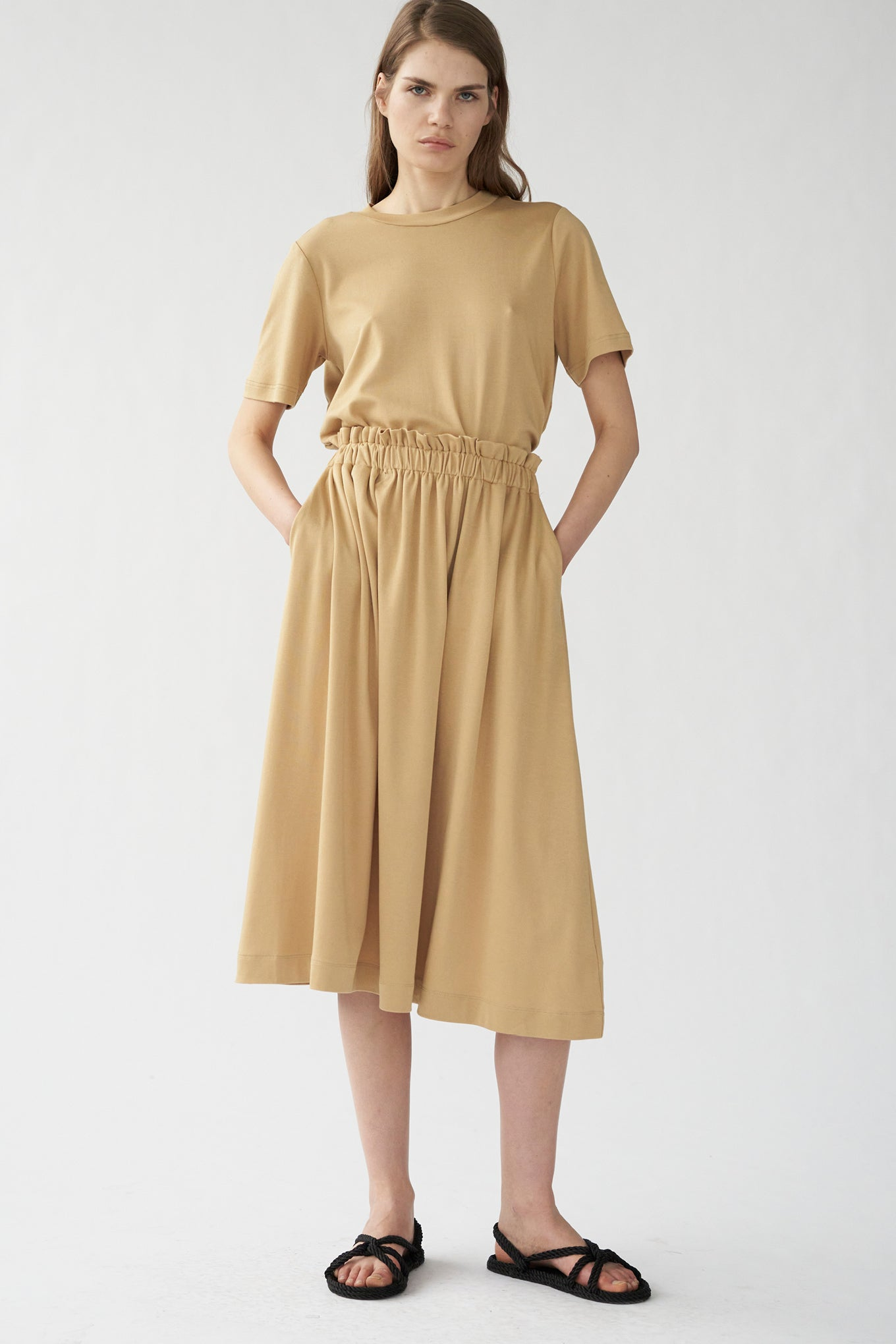 IVY SKIRT - SUNKISSED BEIGE - SILK/COTTON JERSEY